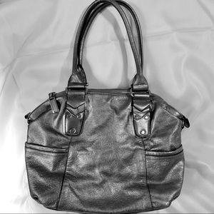 B Makowsky Leather Silver Metallic Bag